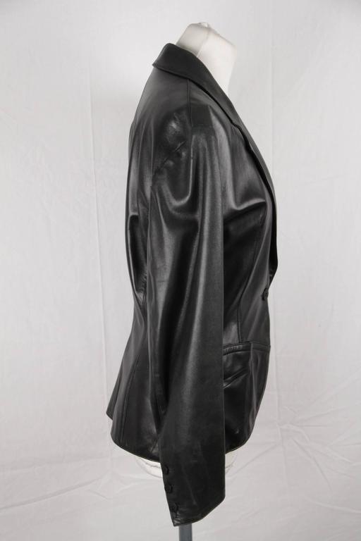 AZZEDINE ALAIA Vintage Black Leather BLAZER Jacket SIZE 40 3