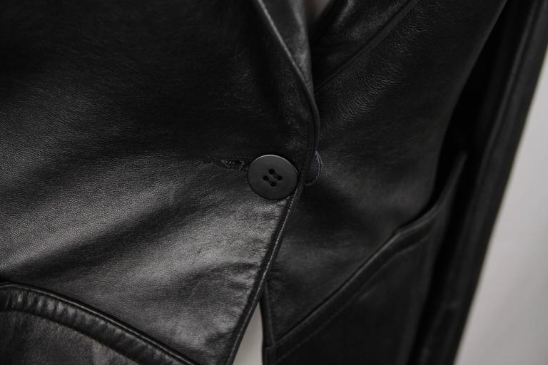 AZZEDINE ALAIA Vintage Black Leather BLAZER Jacket SIZE 40 2