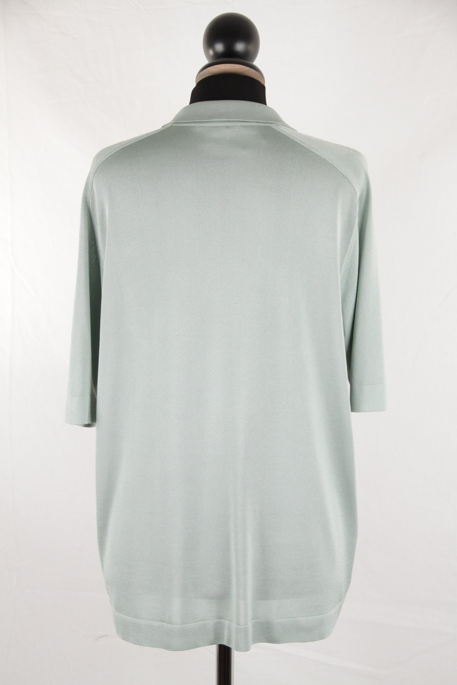 Hermes Vintage Aqua Silk Polo Shirt W Silk Scarf Panel Size 40 For