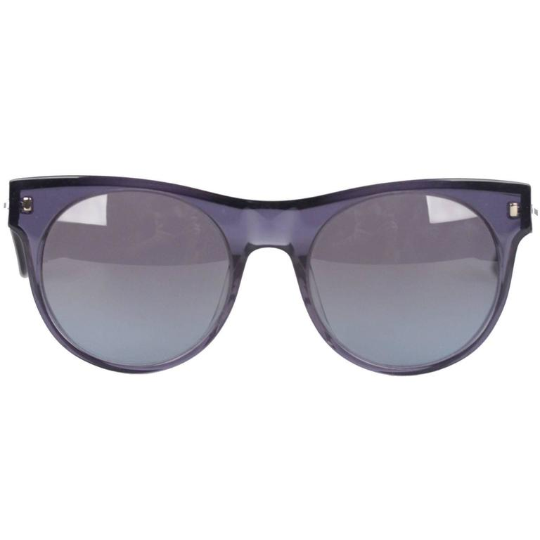 Saint Laurent Paris Blue Round Mint Sunglasses YSL 6360-N-S 53mm NOS