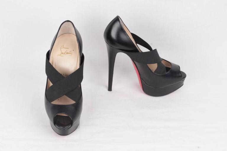 CHRISTIAN LOUBOUTIN Black VERY STAGRAM Platform Open Toe Heels 36 3