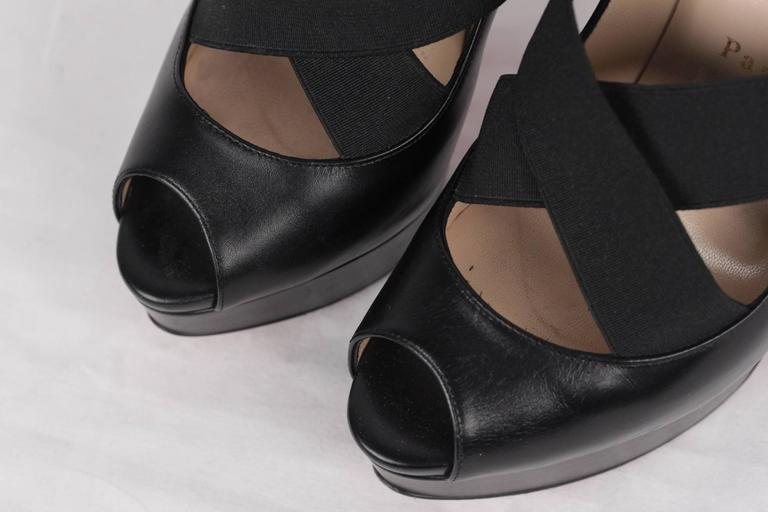 CHRISTIAN LOUBOUTIN Black VERY STAGRAM Platform Open Toe Heels 36 4