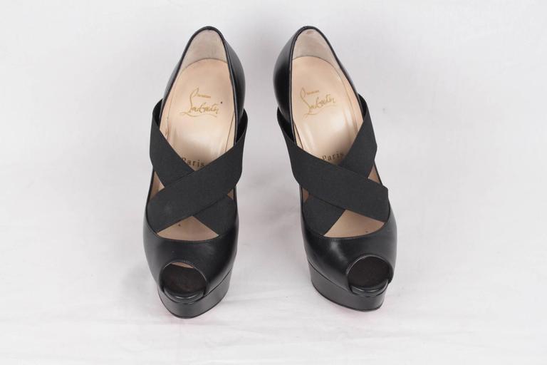 CHRISTIAN LOUBOUTIN Black VERY STAGRAM Platform Open Toe Heels 36 5
