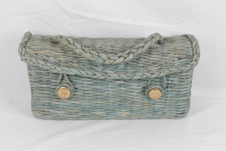 ROBERTA DI CAMERINO VINTAGE Green Woven Raffia Straw HANDBAG Satchel In Fair Condition For Sale In Rome, Rome