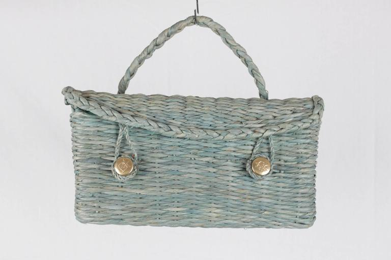 Gray ROBERTA DI CAMERINO VINTAGE Green Woven Raffia Straw HANDBAG Satchel For Sale