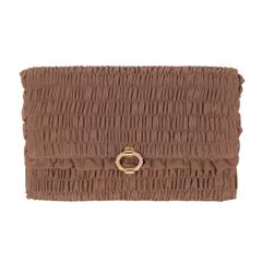 GUCCI VINTAGE Brown Goffered Fabric CLUTCH Handbag EVENING BAG