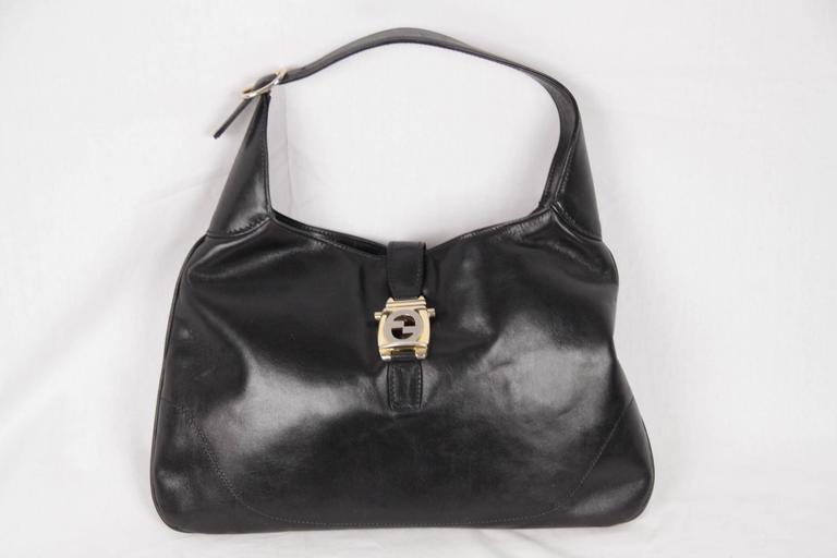 8584ad1e GUCCI Vintage Black Leather HOBO Jackie O Bouvier SHOULDER BAG For Sale 2