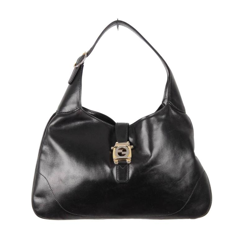 gucci vintage bags. gucci vintage black leather hobo jackie o bouvier shoulder bag 1 gucci bags