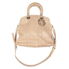 CHRISTIAN DIOR Beige Cannage Leather GRANVILLE TOTE Handbag