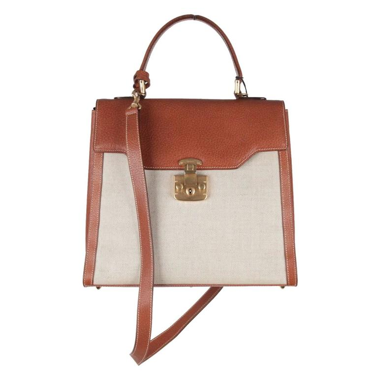 Gucci Tan Canvas Leather Handbag Top Handle Bag W Strap For