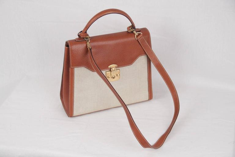 Tan Leather And Ivory Canvas Gold Metal Hardware Flap With Push Lock Closure