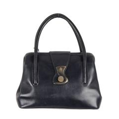 GUCCI Rare VINTAGE Dark Blue Leather HANDBAG w/ WOOD HOOK Closure