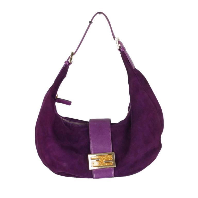 a0aabca2df7 FENDI Purple Suede HALF MOON Hobo BAG Tote SHOULDER BAG at 1stdibs