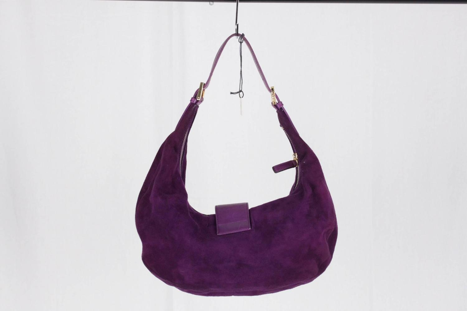 Home Designer Interiors Serial Fendi Purple Suede Half Moon Hobo Bag Tote Shoulder Bag