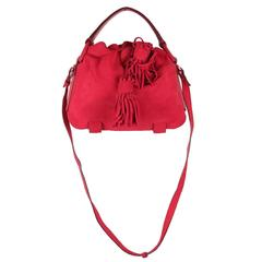 YVES SAINT LAURENT Red Suede SHOULDER BAG Tote HOBO w/ TASSELS