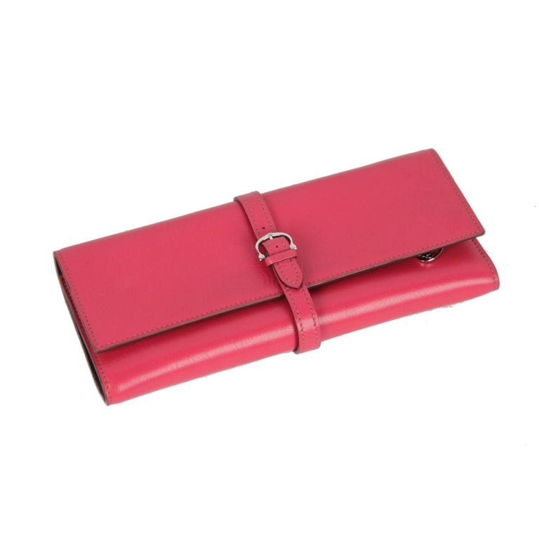 Cartier Vintage Pink Leather Jewelry Roll Holder Travel