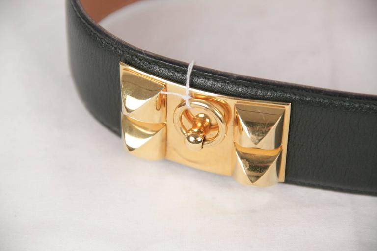 Hermes Green Leather Collier de Chien CDC Medor Belt Size 74 In Good Condition For Sale In Rome, IT