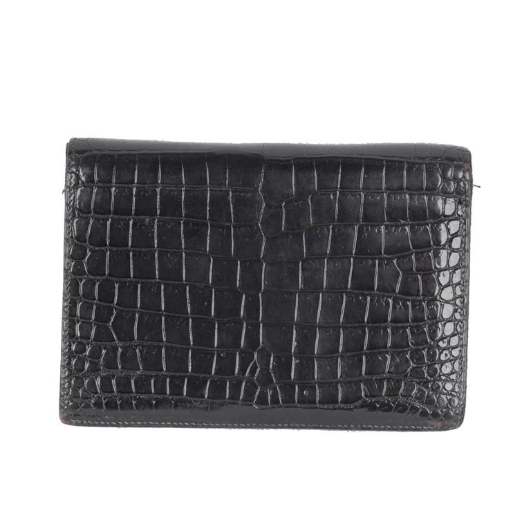 597666d88c HomeFashionHandbags and PursesWallets and Small Accessories. HERMES Vintage Black  Crocodile Leather BIFOLD WALLET For Sale
