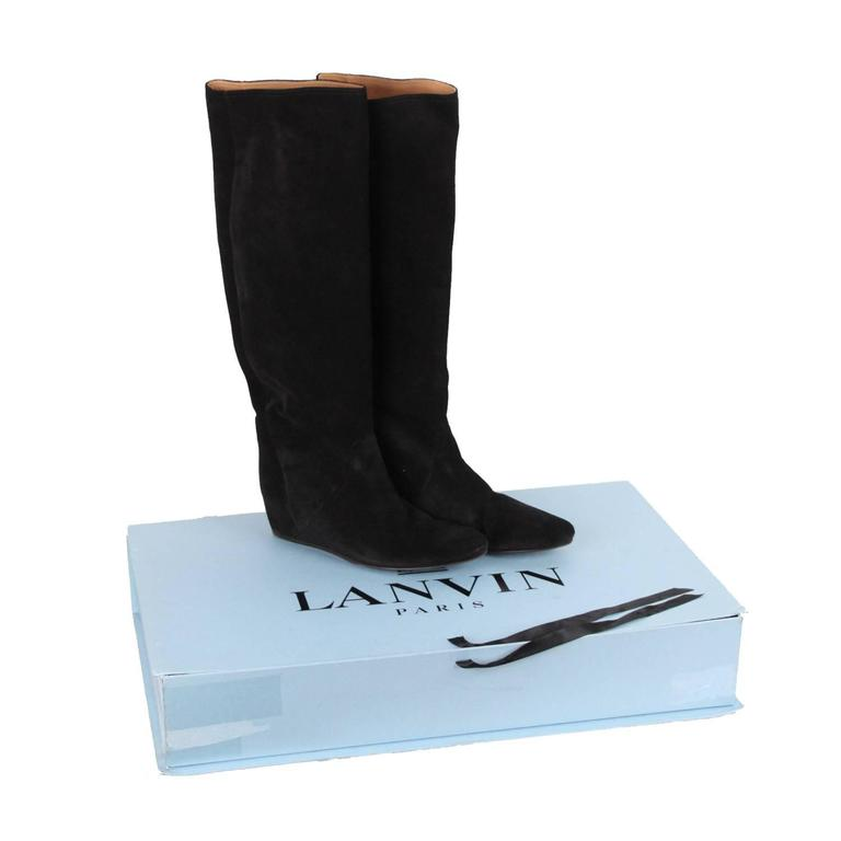 lanvin black suede knee high concealed wedge boots size 42