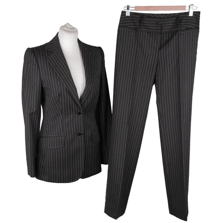 DOLCE   GABBANA Black PinStriped Wool SUIT Blazer   Trousers Set SIZE 40 ... bb0b640ff6263