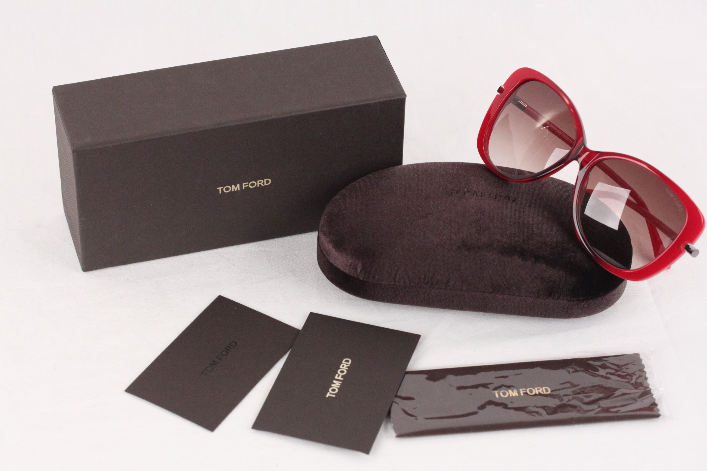 86e0475b3ad TOM FORD Eyewear Red LINDA TF 324 68F 59mm Butterfly SUNGLASSES For Sale at  1stdibs