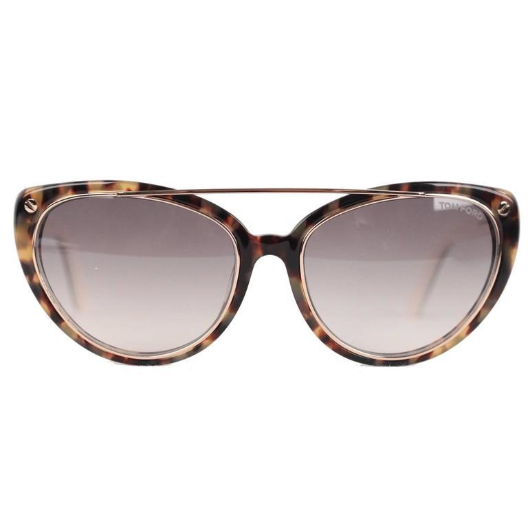e21c425bf7 TOM FORD Eyewear Tortoise EDITA TF 384 56B 58mm Cat Eye SUNGLASSES ...