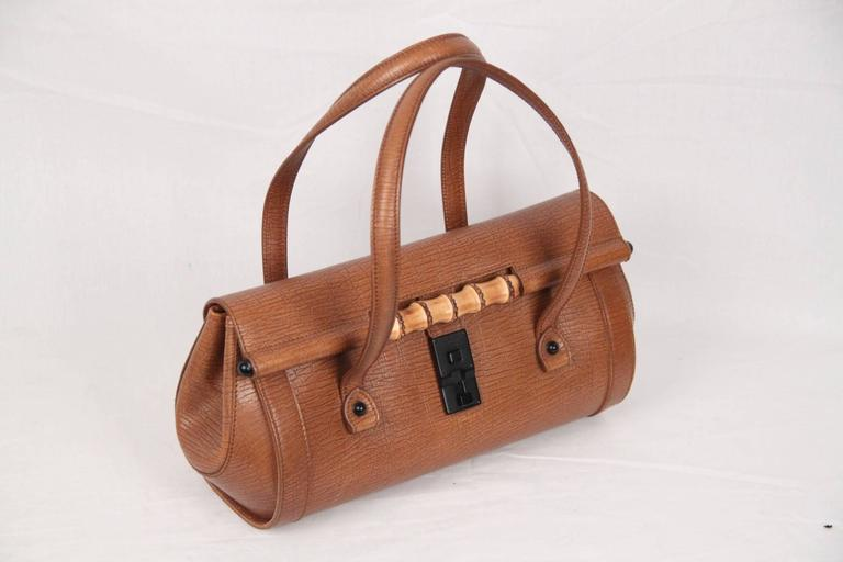0b8660ea6789 GUCCI Tan Leather BULLET BAG Handbag TOM FORD ERA Satchel w/ BAMBOO ...
