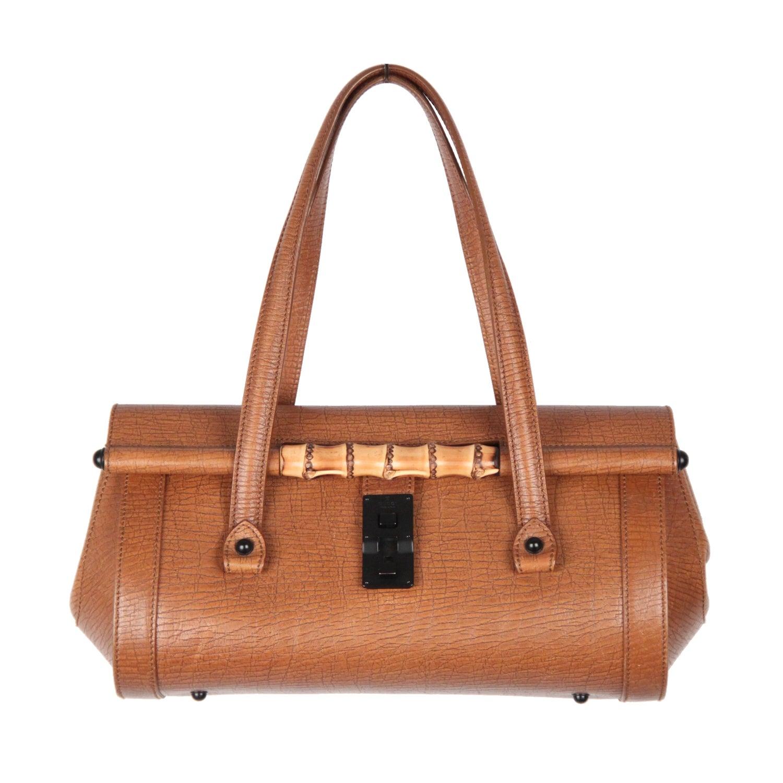 2a92f658839 GUCCI Tan Leather BULLET BAG Handbag TOM FORD ERA Satchel w  BAMBOO For  Sale at 1stdibs