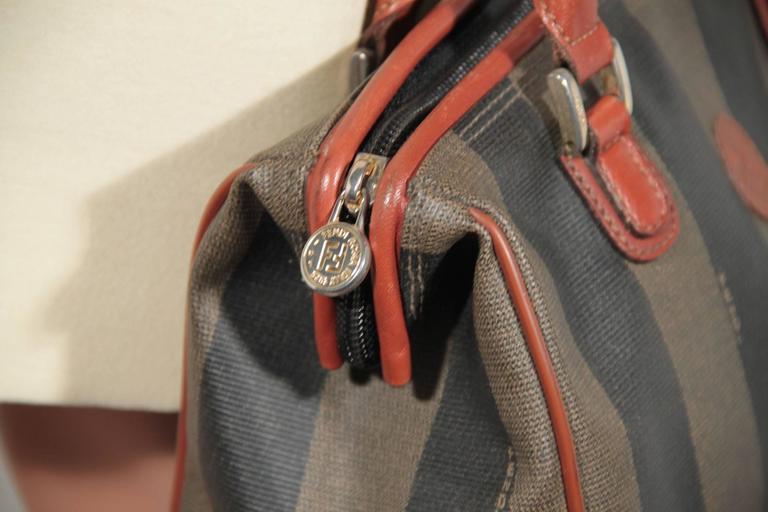 cafcbf56ea34 FENDI Pequin STRIPED Vinyl Canvas Small BOSTON BAG Handbag For Sale ...