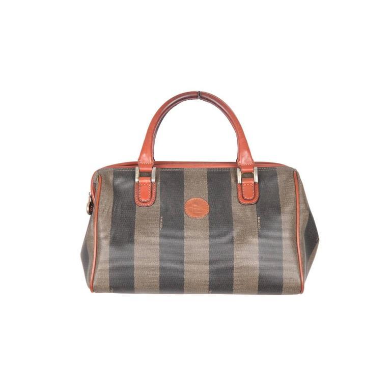 FENDI Pequin STRIPED Vinyl Canvas Small BOSTON BAG Handbag ...