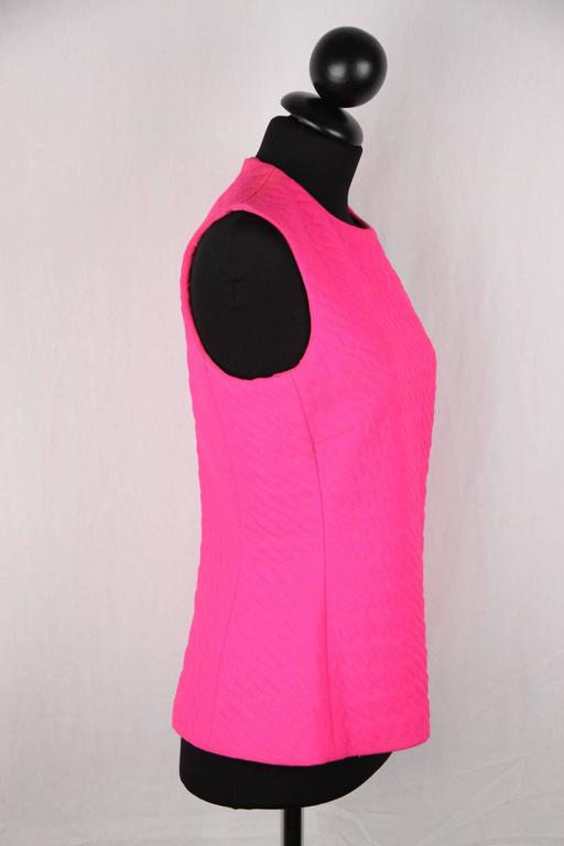 CHRISTIAN DIOR Fluo Fuchsia Wool SLEEVELESS Shell TOP Size 42 3