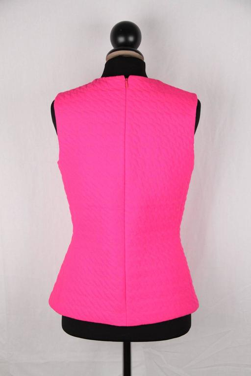 CHRISTIAN DIOR Fluo Fuchsia Wool SLEEVELESS Shell TOP Size 42 4