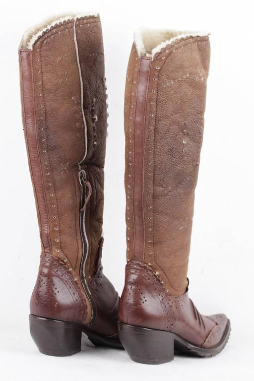 authentic ermanno scervino brown leather cowboy boots