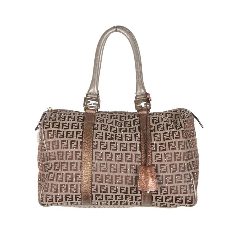 FENDI Monogram Canvas STUDDED Boston Bag BAULETTO FOREVER