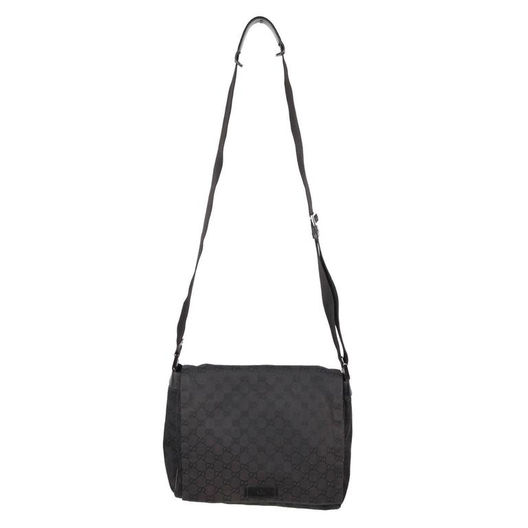 6a136927d21 GUCCI Black GG Monogram Canvas MESSENGER BAG Crossbody at 1stdibs