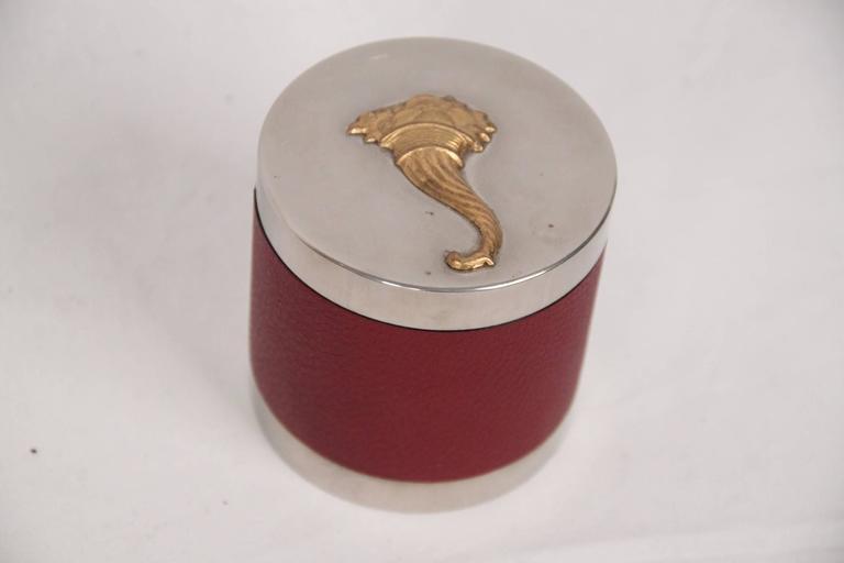 Women's or Men's HERMES PARIS Vintage Silver Metal CORNUCOPIA 3 Pieces SMOKING SET For Sale