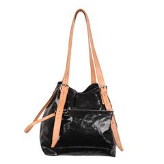 MM6 MAISON MARGIELA Black Leather Slouchy TOTE BAG