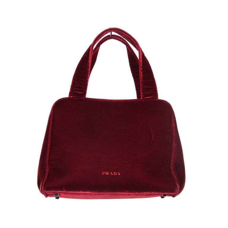 Authentic PRADA Red Burgundy Velvet FRAME BAG Handbag For Sale at ... f235bd518142d