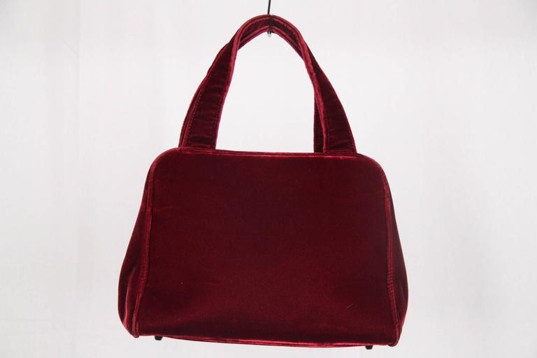 Women s Authentic PRADA Red Burgundy Velvet FRAME BAG Handbag For Sale 800dc30852de3