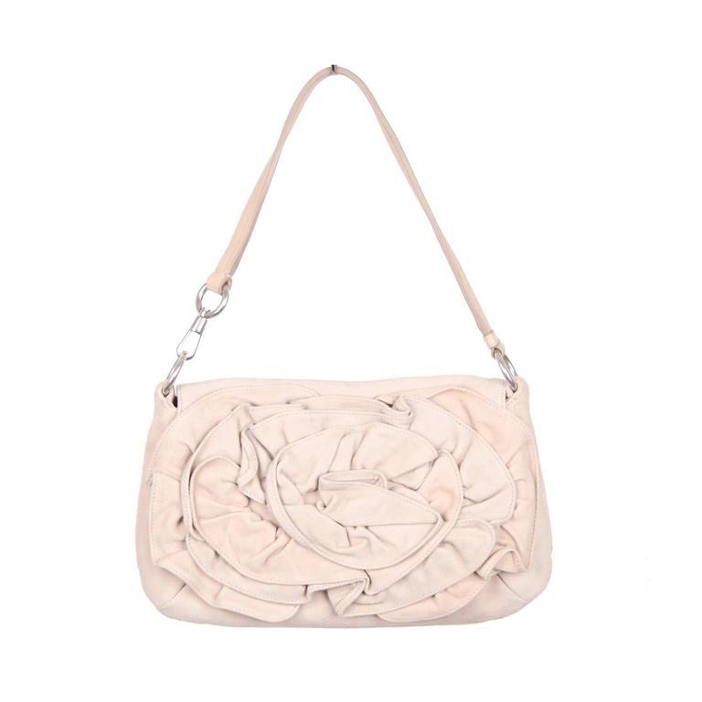 1f3e1f8b64 Authentic YVES SAINT LAURENT Beige Suede NADJA ROSE Shoulder Bag For Sale  at 1stdibs