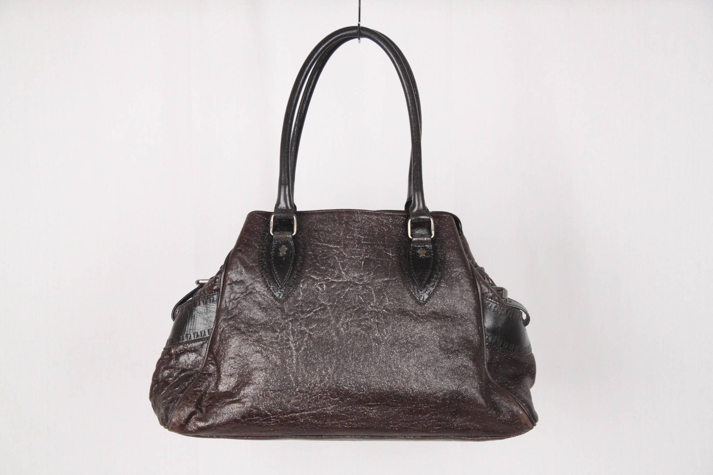 Authentic FENDI Brown Metallic Leather BAG DE JOUR BAG Tote SATCHEL For  Sale at 1stdibs