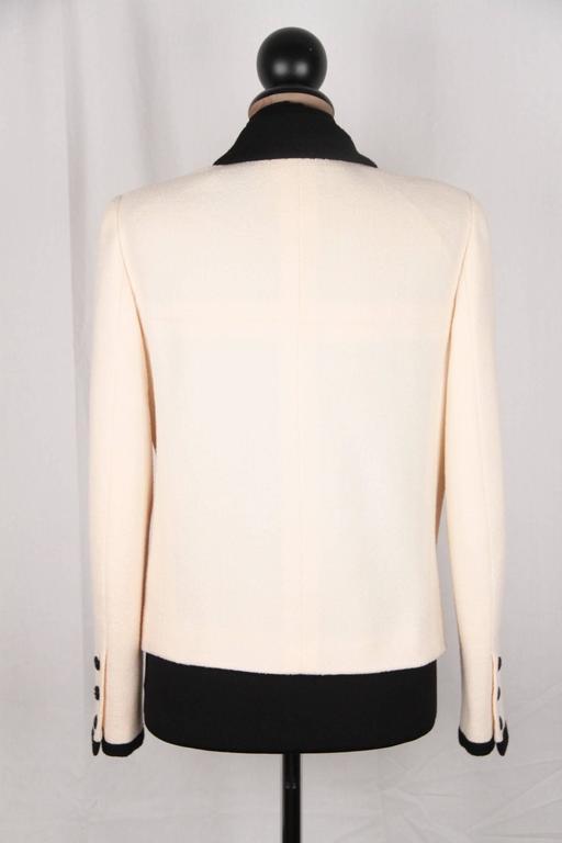 Women's CHANEL BOUTIQUE 96P White & Black Wool Blend JACKET Blazer SIze 38 For Sale