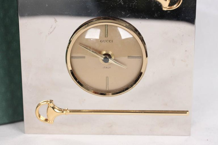 GUCCI VINTAGE Silver Metal Square DESK Table CLOCK W/ HORSEBIT Rare 2