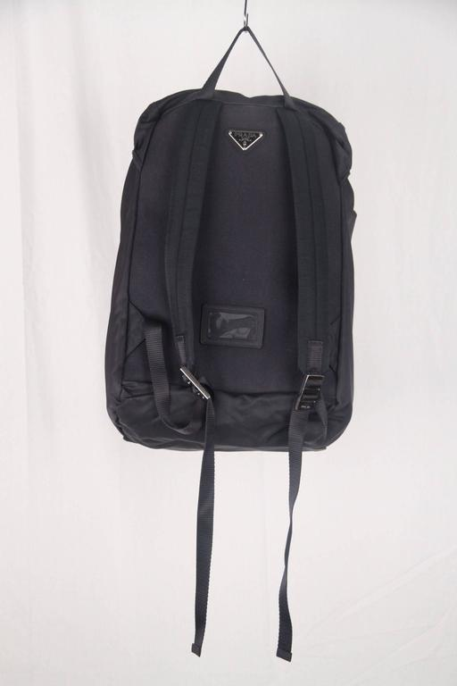 Black PRADA Navy Blue Nylon Canvas DOUBLE BUCKLE BACKPACK For Sale