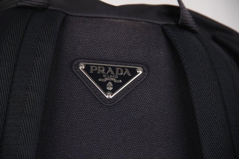 PRADA Navy Blue Nylon Canvas DOUBLE BUCKLE BACKPACK For Sale 5