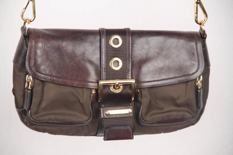 9d4f07338e PRADA Brown Tessuto Canvas and Leather BUCKLE CROSSBODY BAG For Sale ...