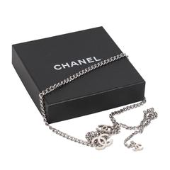 CHANEL Silver Metal CHAIN NECKLACE or BELT w/ CC Logo WHITE