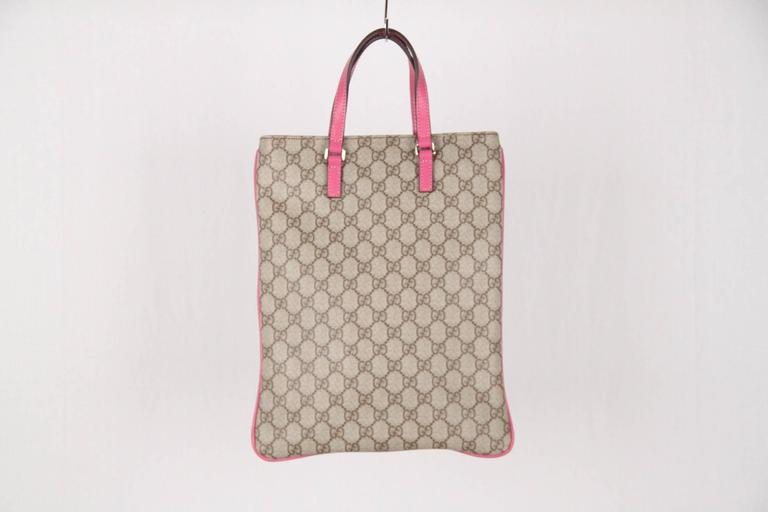 c2352691309 GUCCI Monogram Canvas SHOPPING BAG Tote Handbag w/ Pink Trim In Good  Condition For Sale