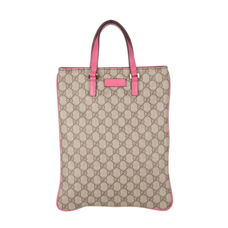 GUCCI Monogram Canvas SHOPPING BAG Tote Handbag w/ Pink ...