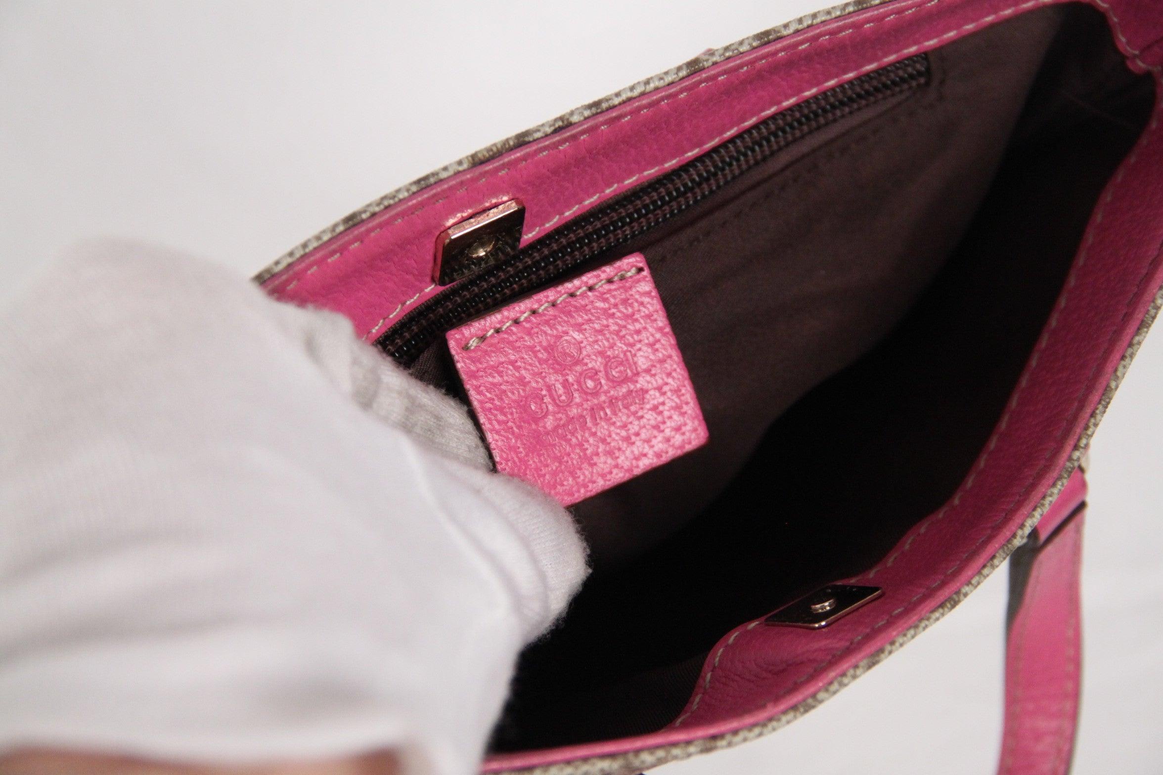 ceef2dab64f GUCCI Monogram Canvas SHOPPING BAG Tote Handbag w/ Pink Trim For Sale at  1stdibs